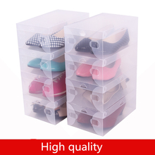Free Shipping 10 Pack Foldable Clear Plastic Shoe Storage Transparent Boxes Container for Shoes Closet Organization Stackable