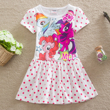 children dress casual baby girls clothing fashion 2016 summer cartoon little pony dress girl dress kids short sleeve dress