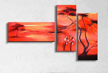 Hand Painted Natural Scenery Oil Painting Canvas African Landscape Red Paintings Home Decoration Wall Art 3 Panel Pictures Paper