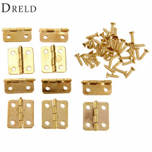 10Pcs Kitchen Cabinet Door Hinges Furniture Accessories 4 Holes Gold Drawer Hinges for Jewelry Boxes Furniture Fittings 18x16mm(China)