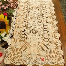 2016 new arrival zakka fashion colorful 100% cotton crochet lace table runner for home decoration with sunflower for sale