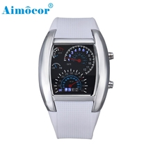 2017 Newly Designed Fashion Aviation Turbo Dial Flash LED Watch Gift Mens Lady Sports Car Meter Gift 327#23(China)