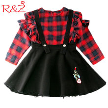 R&Z 2017 New Girls Plaid Set Long Sleeve Blouse + Strap Skirt 2PCS Suits Lattice Lotus Leaf Children's Clothes Flower Denim(China)