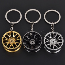 Car Styling Metal Keychain Cool Luxury Wheel Hub Key Chain Ring Holder For BMW Audi VW Honda Toyota Ford Keyring Accessories