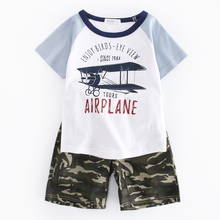 Kids Summer Baby Boy Clothes Kids Short Sleeve T-shirt+shorts 2pcs Set Airplane Pattern Boys Clothing Children Clothing Set(China)