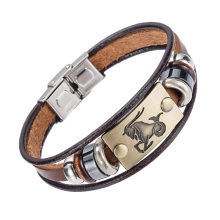 Alibaba Hot Selling Europe Fashion 12 zodiac signs Bracelet With Stainless Steel Clasp Leather Bracelet for Men(China)