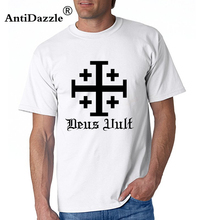 Antidazzle Crusader Cross Deus Vult Crusader Men Short Sleeve T Shirt Black Fashion Casual Male T shirt O-neck T-shirt Tees