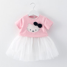 Girls Dress Hello Kitty Shirt + Tutu Mesh White Dress Baby Girl Clothing Set KT Ball Gown Leisure Holiday Kids Clothes Pink(China)