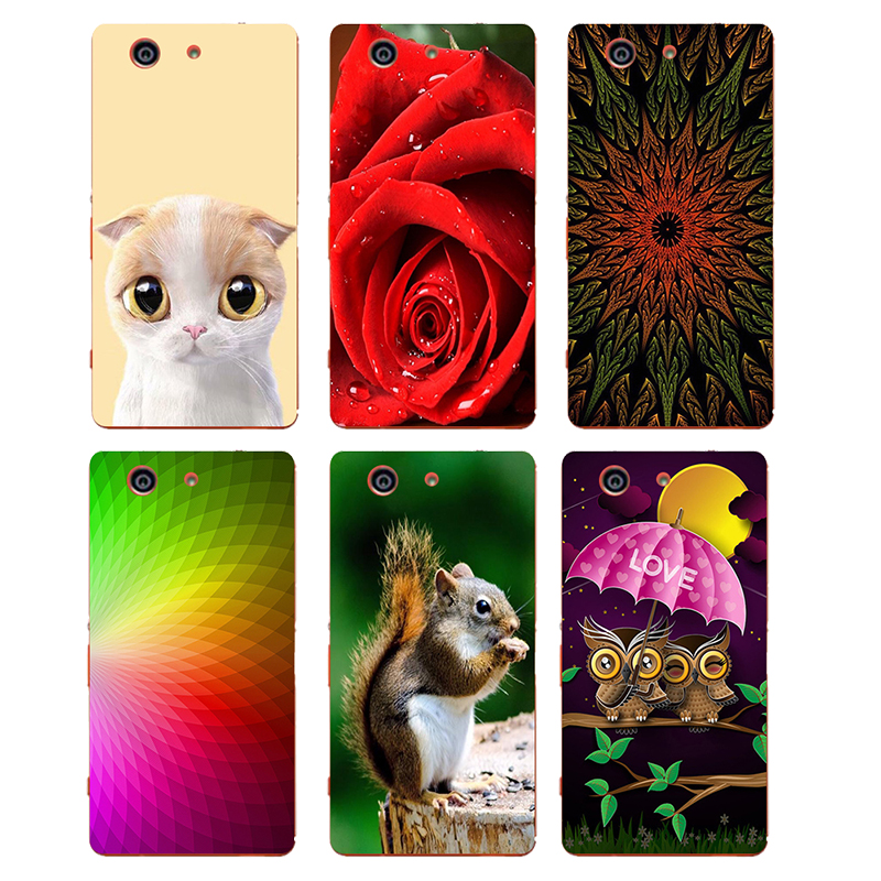 Soft TPU Silicone Case Sony Xperia Z3 Compact Mini D5803 M55W Back Cover Flower Plants Printed Cartoon Cat Owl Phone Case