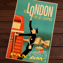 TO LONDON BY JET CLIPPER PAN AM AIRLINE WORLD Decorative Retro Vintage Kraft Poster DIY Wall Home Bar Posters Decor Gift(China)