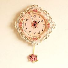 Large purple lace environmental protection paint resin clock With swing Wall Clock Vintage Home Decor Design 40*58CM