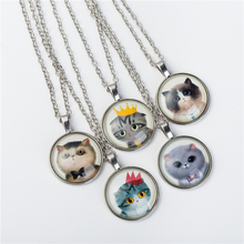 2017 Cute Cat Jewelry Classic Glass Cabochon Silver Chain Necklace&Pendants Fashion Collares  For Women