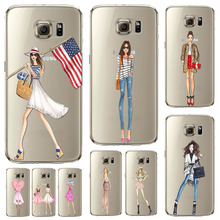 Case Cover For Samsung Galaxy s6edge Beautiful Girl Shopping Design Transparent TPU Fashion Cell Phone Cases(China)