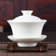 [GRANDNESS] Chinese Gaiwan Tea Set Kung Fu White Ceramic Gaiwan White Teaware Sancai Tea Cup For Pu erh White Tea Silver Needle(China)