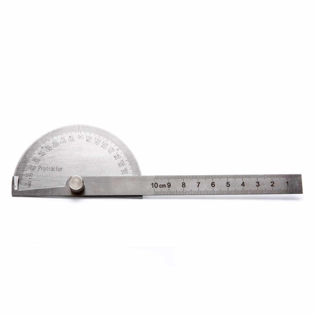Utoolmart 90mm Stainless Steel Protractor 180/° Round Head Angle Finder with 150mm Adjustable Arm 1pcs