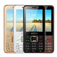 Original Servo V8100 2.8 inch Mobile Phone 4 SIM cards cell phones Bluetooth Flashlight MP3 GPRS Russian Language keyboard(China)