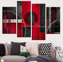 4 Pcs/Set Combined Abstract Oil Painting Red Black   With Circle Canvas Wall Art  Modern Canvas Oil Art