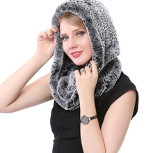 Valpeak Hat Women 2017 Real Knitted Rex Rabbit Fur Hat Hooded Scarf Long Winter Warm Fur Hat With Neck Collar Scarves(China)