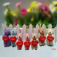 6cm holding heart teddy Bear,small bear use for callphone,promotion toy gifts,cartoon bouquet 10pcs/lot Dolls & Stuffed Toys t