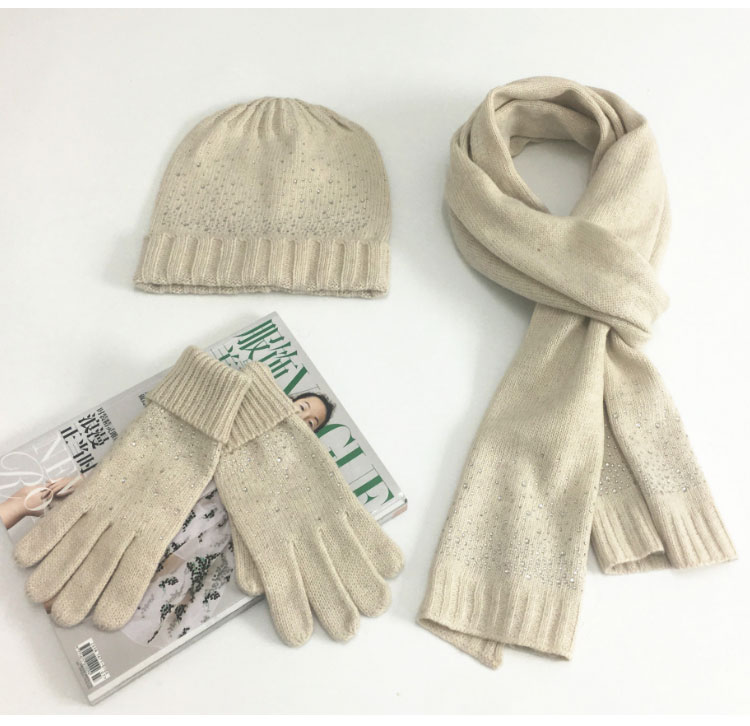 hat scarf set  Scarf, Hat & Glove Sets knitted  winter hat and scarf woman with diamond  (8)