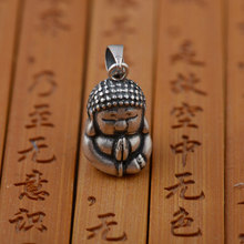 FNJ 925 Silver Figure Pendant Buddha 100% Pure S925 Solid Thai Silver Pendants for Women Men Jewelry Making(China)