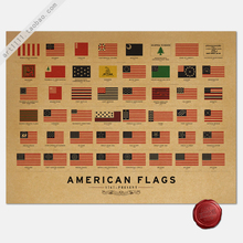 Vintage Style Retro Paper Poster Home decoration The evolution history of American flag flag 66*45cm