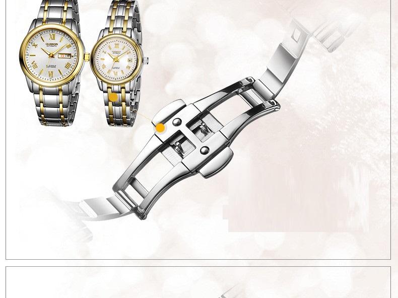 1 Pair GUANQIN Lovers Mechanical Watches Couple Automatic Watch Men Women Clock Auto Date Luminous Waterproof Brand Watch Men (18)