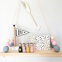 Kids  Nordic Style DIY Original Wood Beads Wall Shelf Storage Shelves Organization Decorative Hanger Home Decor