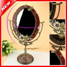 Cosmetic Mirror Dressing Table Standing Mirror Home Decorative Mirror Tin Alloy Antique Beauty Vanity Makeup Mirror For Woman(China)