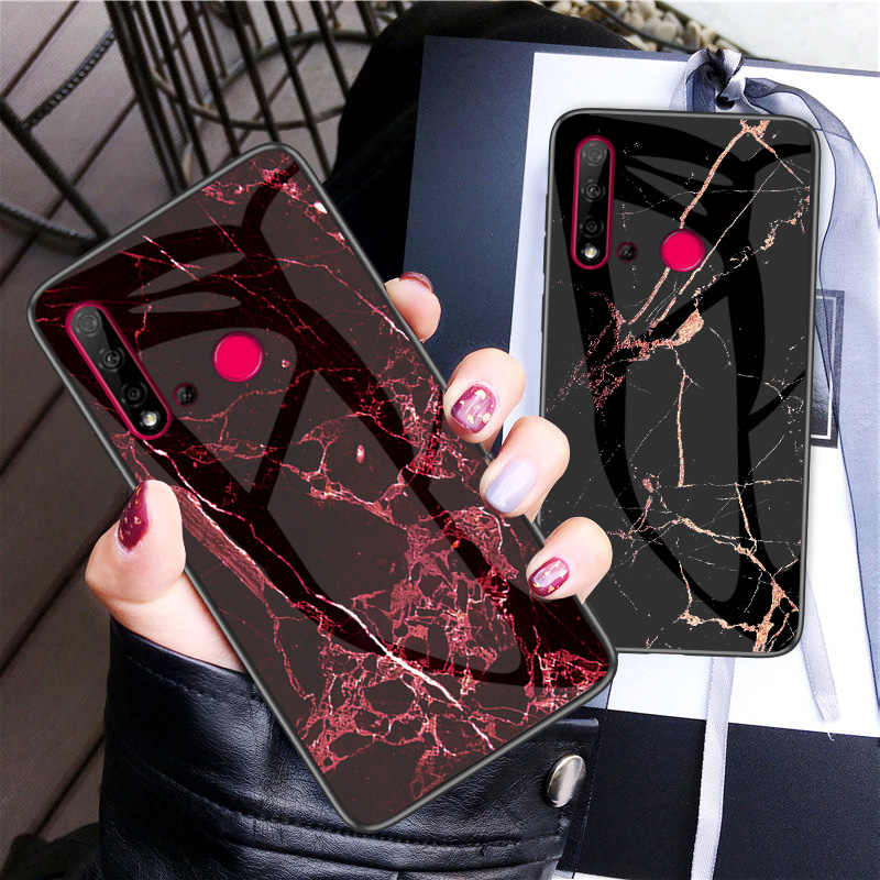 30pcs/lot Marble Grain Glass Case For Huawei P20 Lite 2019 Tempered Glass Anti-scratch Hard Soft Side Case