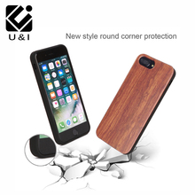 Custom Blank U&I RoseWood Cell Phone Case Laser Engrave Wood Cover Coque for iPhone 5 5S 6 6S 6PLUS 7 7PLUS Full TPU Protection