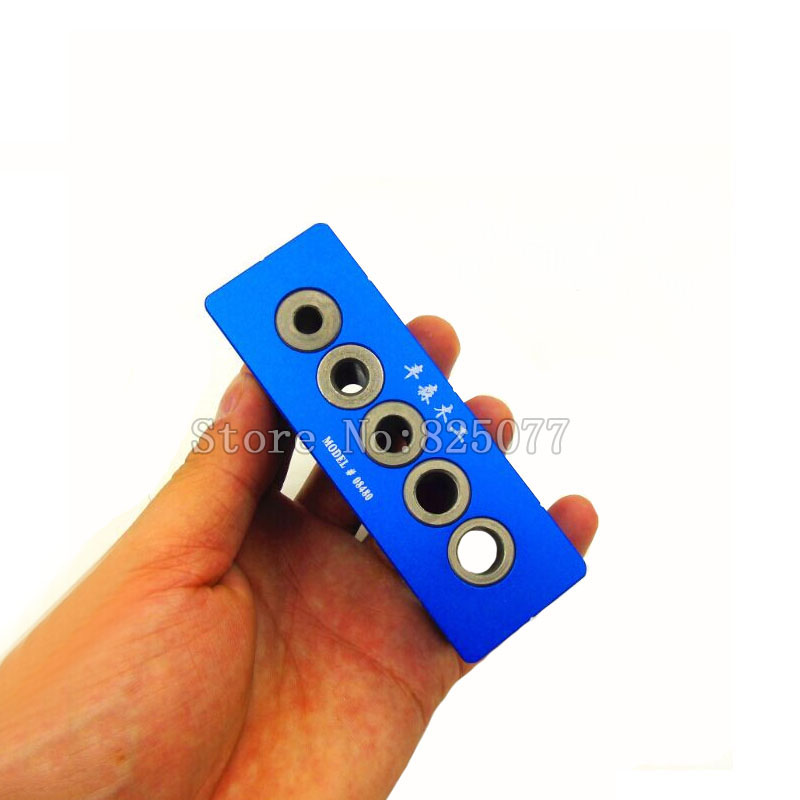 Woodworking 5 Holes V-Drill Guides Portable Drilling Guide Kit With 6mm,7mm,8mm,9mm,10mm Drill Bit Guide Bushings KF1009<br>