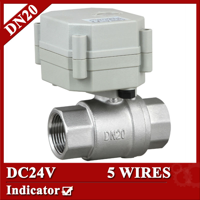 3/4 DC24V 2 way electric water valve 5 wires(CR501), DN20 SS304 motorized valve, indicator type<br>