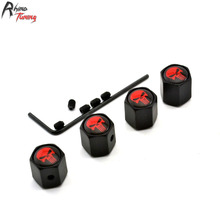 Rhino Tuning 4Pcs The Punisher Red Skull Metal Auto Car Wheel Valve Caps Air Dust Cover 111
