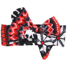 Baby Printing Rabbit Ears Elastic Bowknot Headband flower printing Child large bow ribbon Cloth ornaments headband 19*10cm(China)