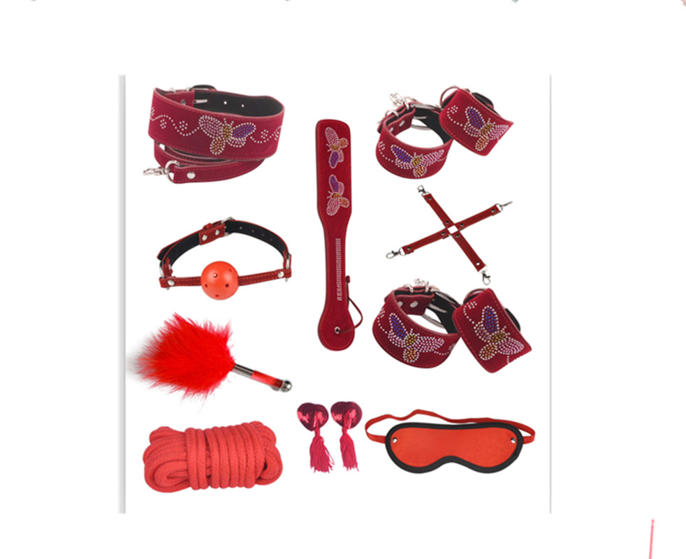 Red Butterfly AAA pu Leather Sex Restraint Kit Tools 10 pcs/lot Sex Bondage Kit Sex Set Toy Adult Sex Furnitures For Couples<br>