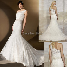 New Style Factory Custom Make One Shoulder Illusion Tulle Strap Lace Mermaid Essense of Australia Wedding Dress