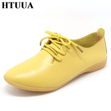 HTUUA Genuine Leather Oxford Shoes For Women Round Toe Lace-Up Casual Shoes Spring And Autumn Flat Loafers Shoes 35-44 SX018