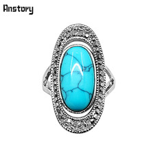 Anstory Hollow Oval Rhinestone Stone Rings For Women Antique Sliver Plated Unique Design Jewelry For Women TR574