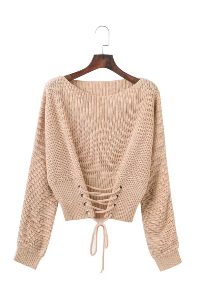 Autumn Lace Up Sweater, Women's Knitted Solid Jumper, Adjust Waist Bandage Sweater 18