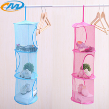 New network multi storey storage cage hanging cage creative 3 shelf hanging storage bag toys net bedroom bathroom hanging basket(China)