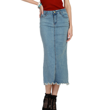 2017 New Fashion Women Long Retro Denim Skirt Casual Plus Size Ladies Office Sexy Skirts Vintage High Waist Jeans Pencil Skirts