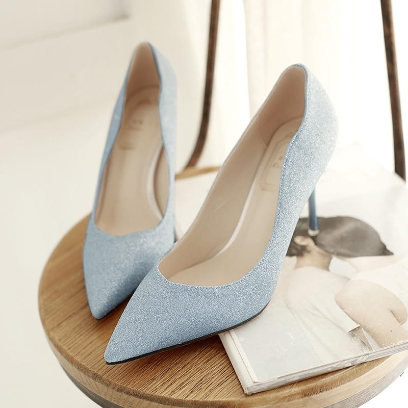 2017 New Elegant High Heeled Stiletto Wedding Footwear Bridal Shoes Women Pointed Toe Pumps Cheap Black Gold Silver Blue<br><br>Aliexpress