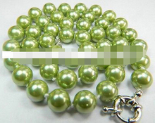 1256 Charming!12mm Apple Green Sea Shell Pearl Necklace(China)