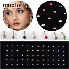1 Pack of 60/40 PCS Crystal Rhinestone Bulk Bone Straight Stud Bar Piercing Nose Ring 2 Colors 2016 Hot Selling