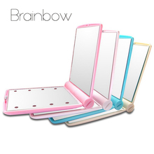 Brainbow Makeup Mirror 8 LED Lights Lamps Cosmetic Folding Portable Compact Pocket Hand Mirror Make Up Under Lights with Bettery