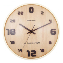 24 Hours Creative 12 inch Wooden Wall Clock Silent Quartz Watch with Second Weeping Needle for Living Room Home Decoration