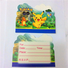 10pcs \ lot Baby Shower Pokemon Go Birthday Party Supplies Decoration Kids Favors Pikachu  Invitation Cards for Children Gift
