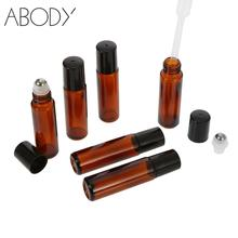 6Pcs/set 10ml Amber Essential Oil Bottles with Dropper Glass Roll-on Jar Cosmetic Perfume Essential Oil Storing Bottles(China)