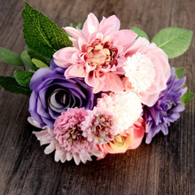 Artificial Silk Dahlias Flower Bouquet Roses Fall Vivid Fake Leaf Wedding Flower Bridal Party Decoration(China)